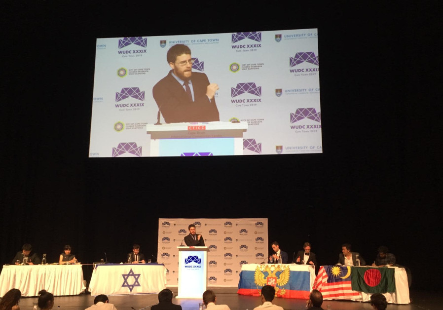 Israeli debate world championship Roy Shulmann makes a speech at the World Universities Debate Champ