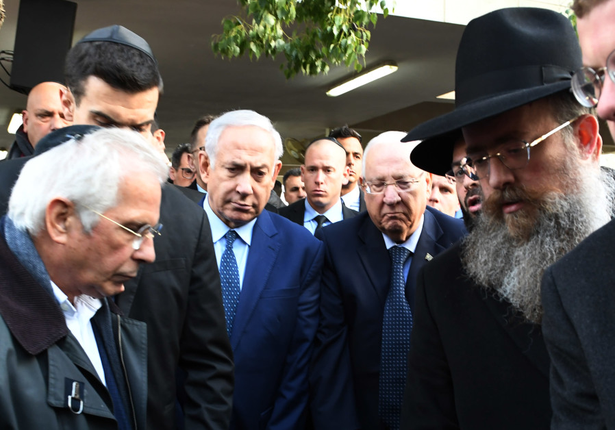 PM Netanyahu and President Rivlin attend the funeral of Moshe Arens.