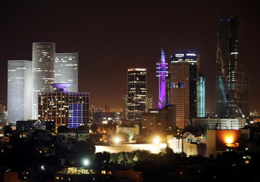 A cityscape of Tel Aviv is seen during the night-time in Israel May 27, 2017.