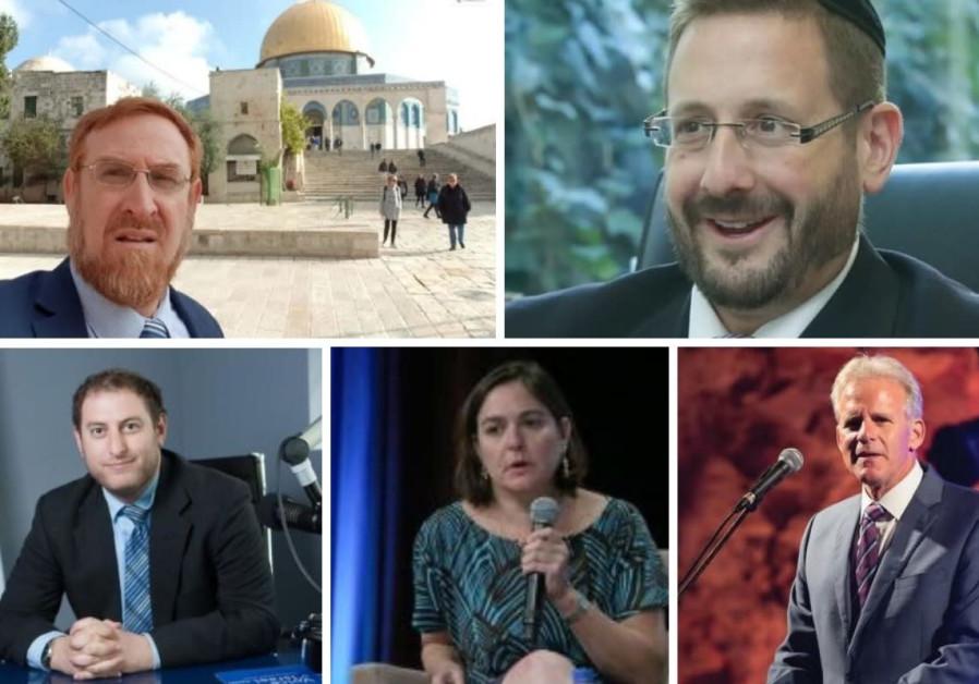 Clockwise from top left: Yehuda Glick, Dov Lipman, Michael Oren, Caroline Glick and Jeremy Saltan