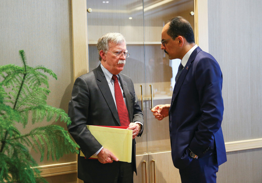 US NATIONAL SECURITY Adviser John Bolton and his Turkish counterpart Ibrahim Kalin meet at the Presi