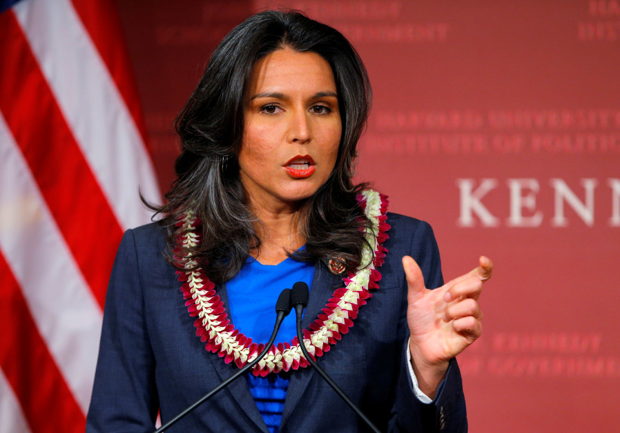 U.S. Representative Tulsi Gabbard (D-HI) speaks after being awarded a Frontier Award during a ceremo