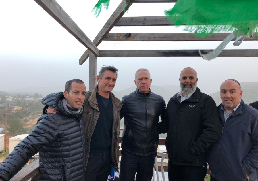 Yoav Galant (C) on a tour of the West Bank, January 13th, 2018