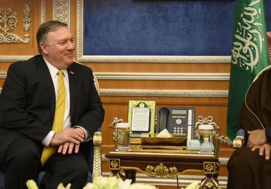 U.S. Secretary of State Mike Pompeo (L) meets with Saudi Crown Prince Mohammed bin Salman in Riyadh