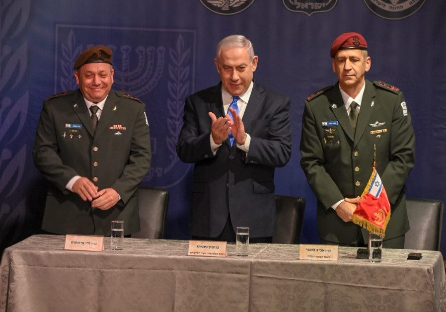 Prime Minister Benjamin Netanyahu, Gadi Eisenkot (L), and Aviv Kochavi (R), January 15th, 2019