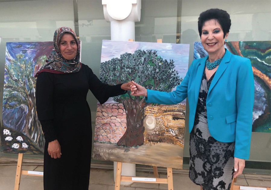 World WIZO chairwoman, Prof. Rivka Lazovsky (right) at the WIZO Olive Tree exhibition
