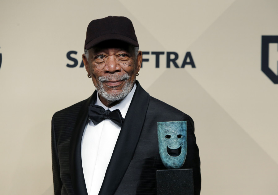 Morgan Freeman poses with the 54th Annual SAG Life Achievement Award.