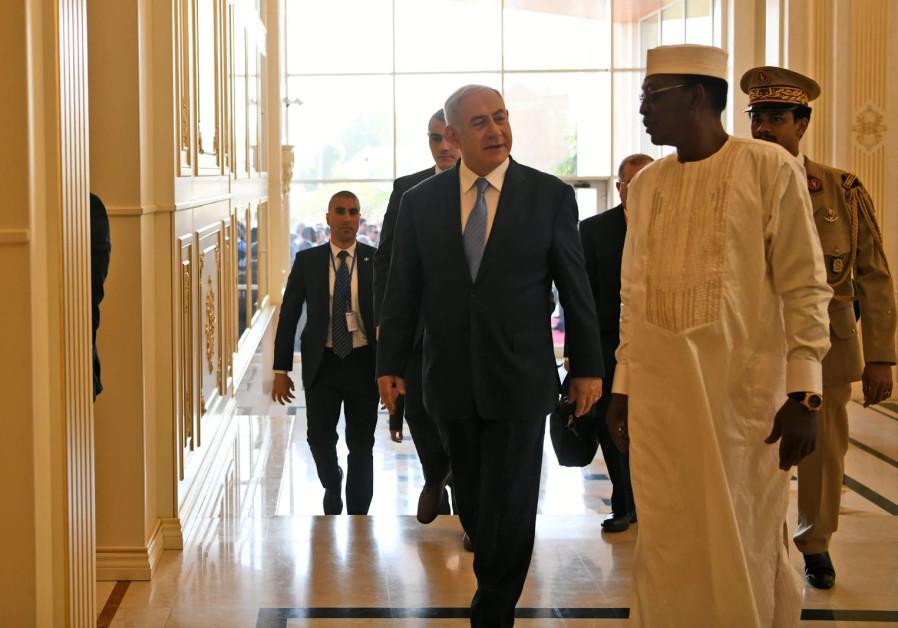 Prime Minister Benjamin Netanyahu meets Chad's President Idriss Deby in N'djamena, Chad in January 2