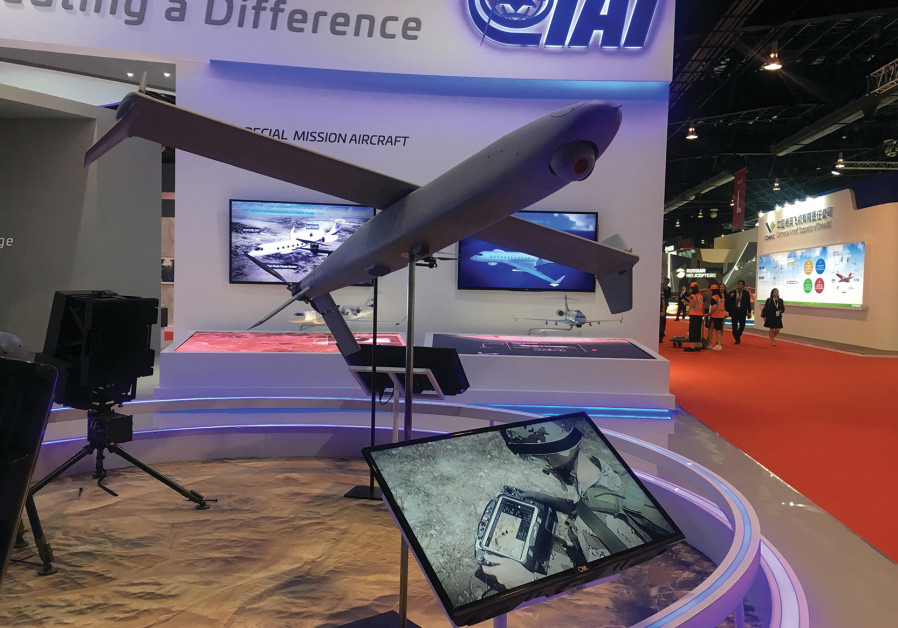 A Drone model on display at the booth of drone maker Israel Aerospace Industries, Singapore Airshow