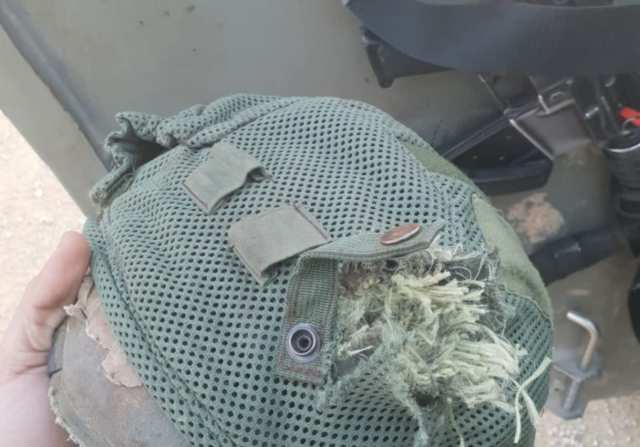 Helmet of IDF soldier shot by terrorist gunfire at Gaza border