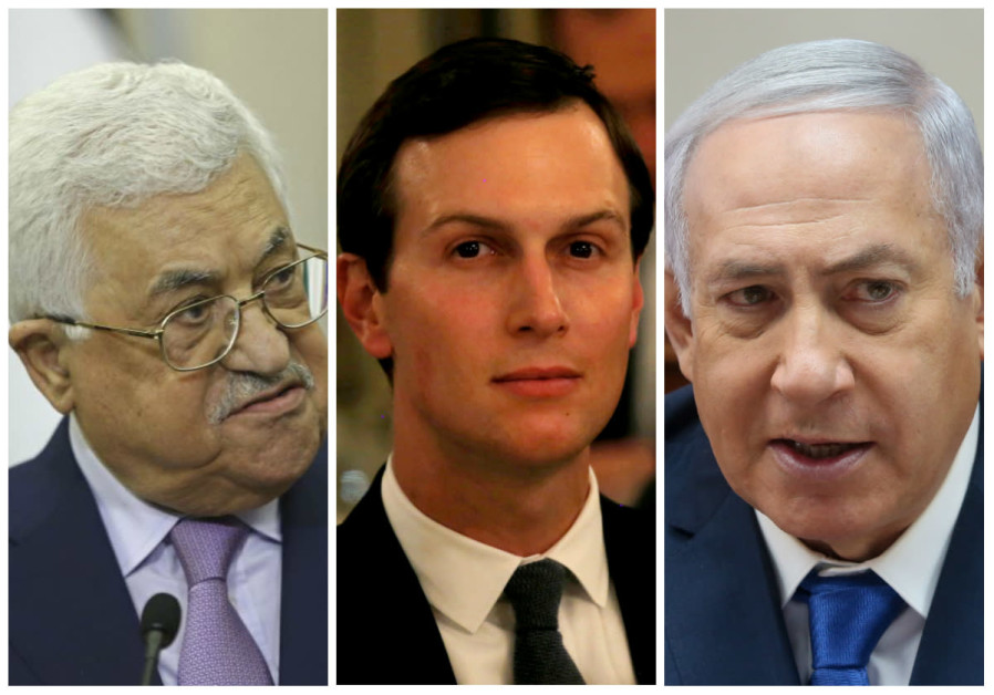Mahmoud Abbas (L), Jared Kushner (C) and Benjamin Netanyahu (R)