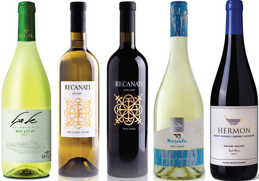 From left to right: Segal White, Recanati Yasmin Red & White, Tabor Moscato, Hermon Cabernet Sauvignon. (Courtesy)