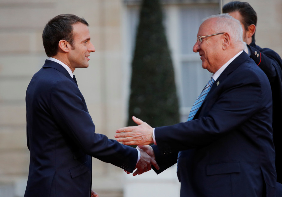 France's Macron pledges to eliminate antisemitism as Rivlin visits