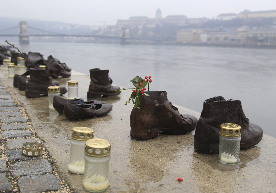 A World War Two memorial of mass killings on the banks of the Danube River is seen in Budapest, Febr