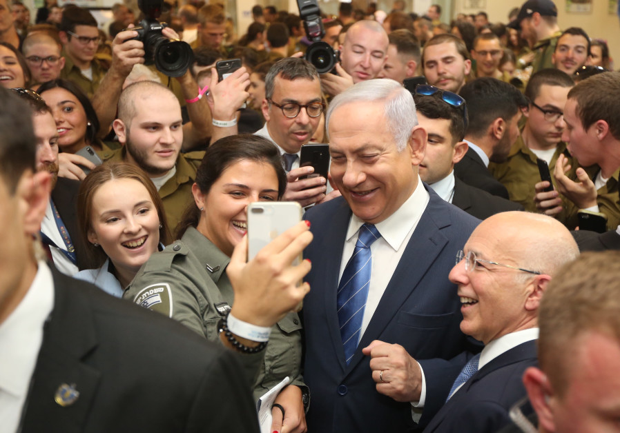 Prime Minister and Defense Minister Benjamin Netanyahu in a lone soldier event in Tel Aviv on Januar