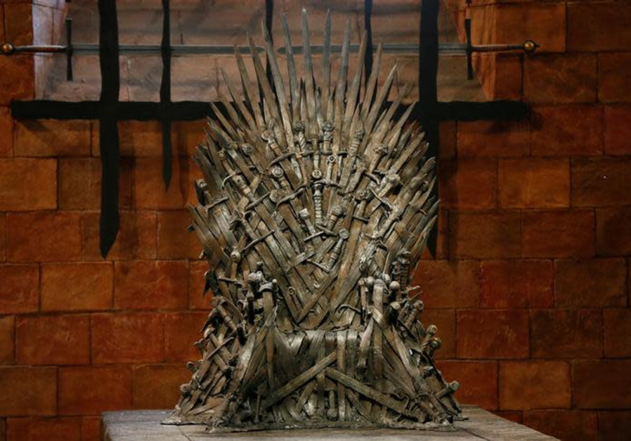 The Iron Throne is seen on the set of the television series Game of Thrones