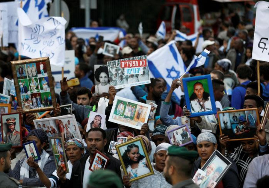 Israelis of Ethiopian descent take part in a protest