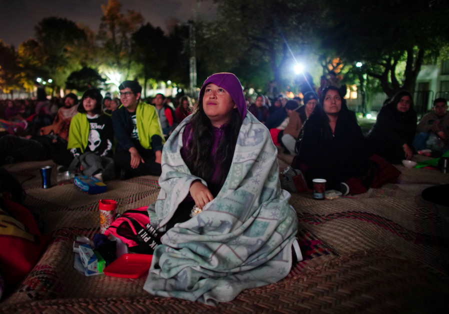"Writer Laura Sosa, 33, watches the film ""Roma"" projected at Los Pinos Presidential residence which w"