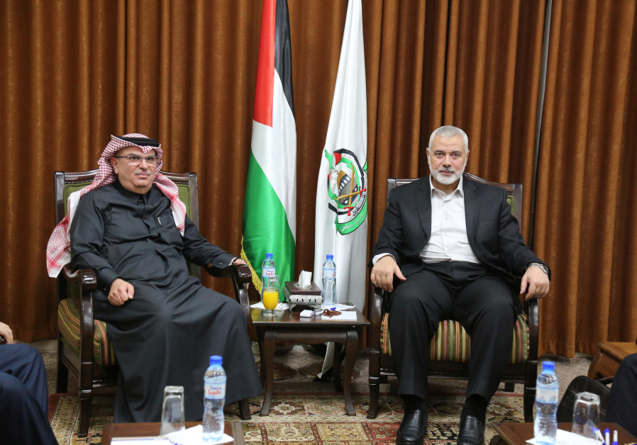 Hamas Chief Ismail Haniyeh meets with Qatari envoy Mohammed Al-Emadi in Gaza City January 24, 2019.