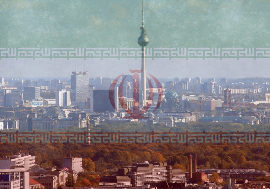 An Iranian flag imposed on the Berlin skyline [Illustrative]