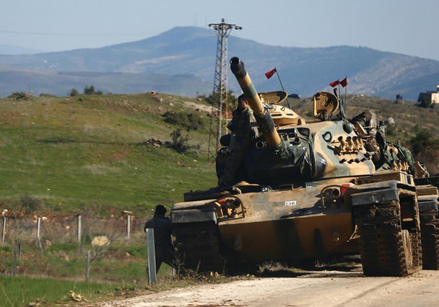 A TURKISH tank on the Syrian border