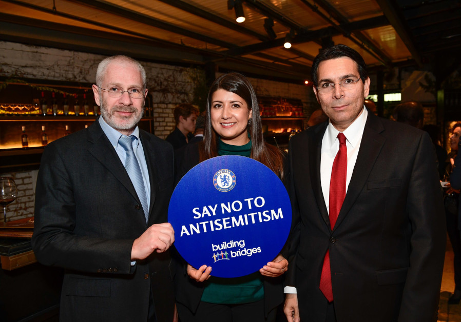 Israeli ambassador to the UN Danny Danon, Chelsea FC Director Eugene Tenenbaum and Rola Brentlin.