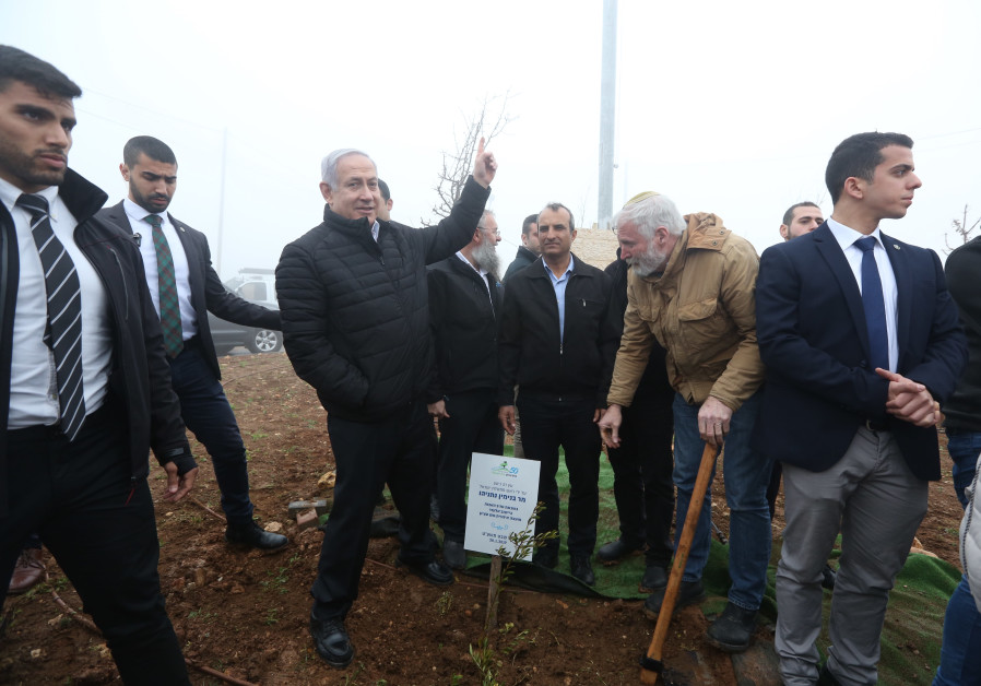 Prime Minister Benjamin Netanyahu plants a tree in the Gush Etzion, January 28th, 2019