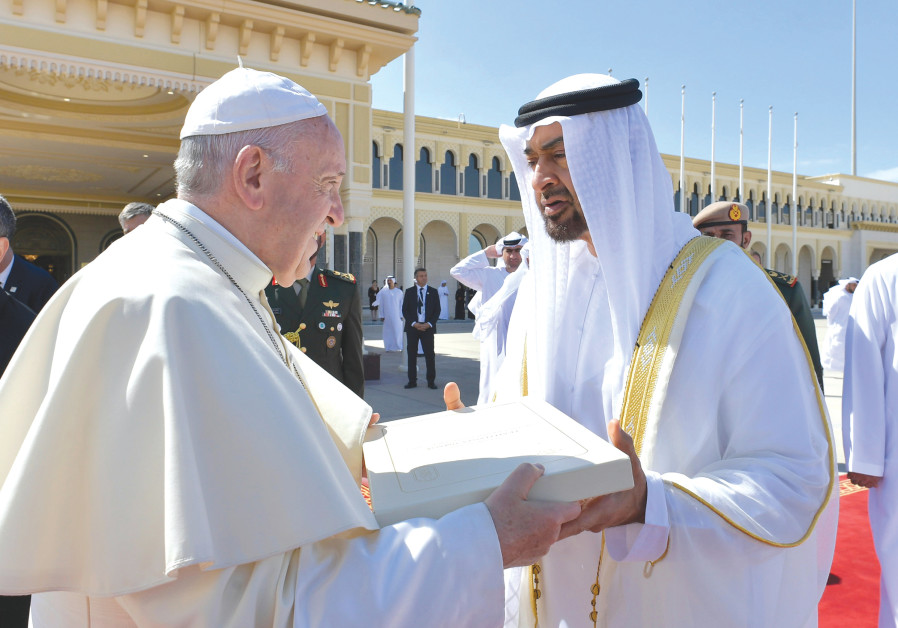 POPE FRANCIS talks with Abu Dhabi's Crown Prince Mohammed bin Zayed Al-Nahyan
