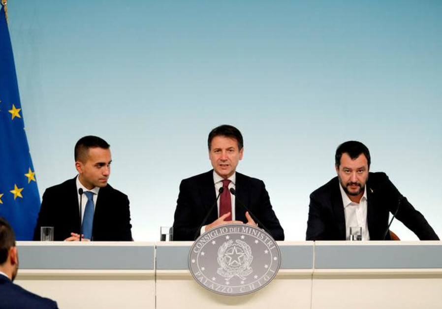 Italy's Minister of Labor and Industry Luigi Di Maio, Prime Minister Giuseppe Conte and Interior Min