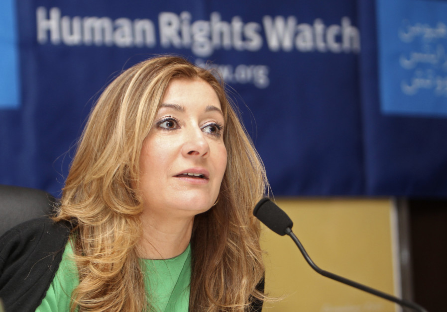 Human Rights Watch (HRW) Middle East director Sarah Leah Whitson, talks during a news conference in