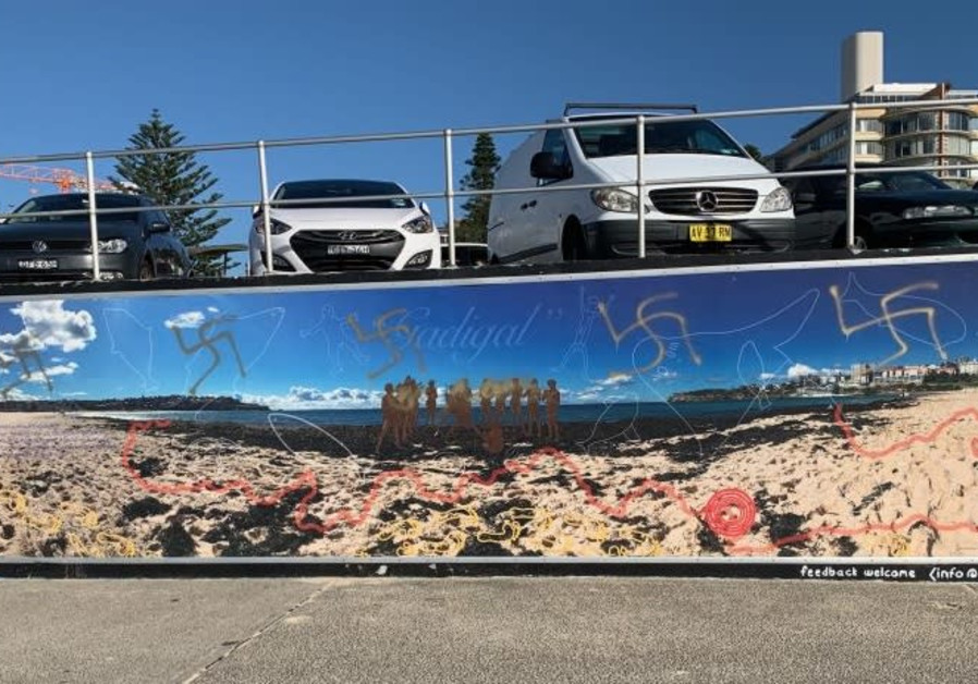 Swastikas painted on the Bondi Beach mural