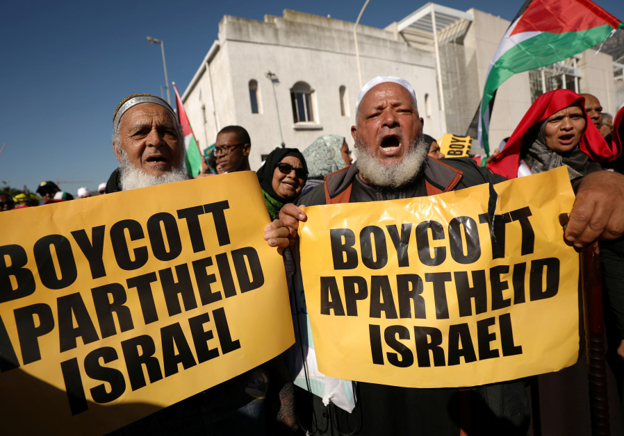 Protestors call for the severing of diplomatic ties with Israel during a march in Cape Town