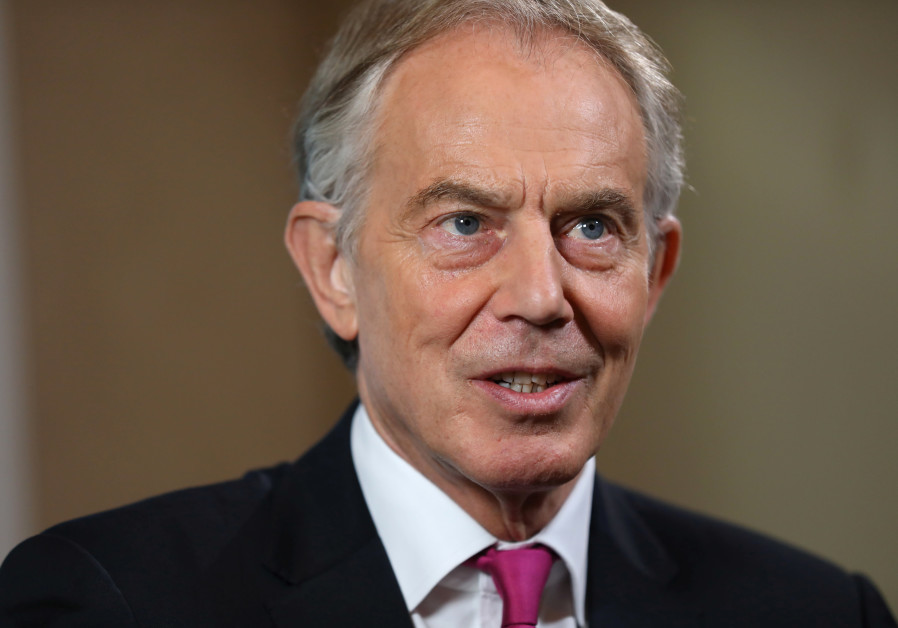 Britain's former Prime Minister Tony Blair attends an event at Thomson Reuters in London, 2018.