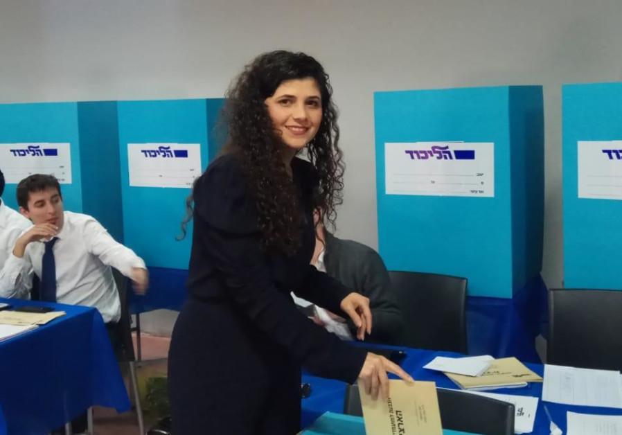 Sharren Haskel voting in the Likud primaries