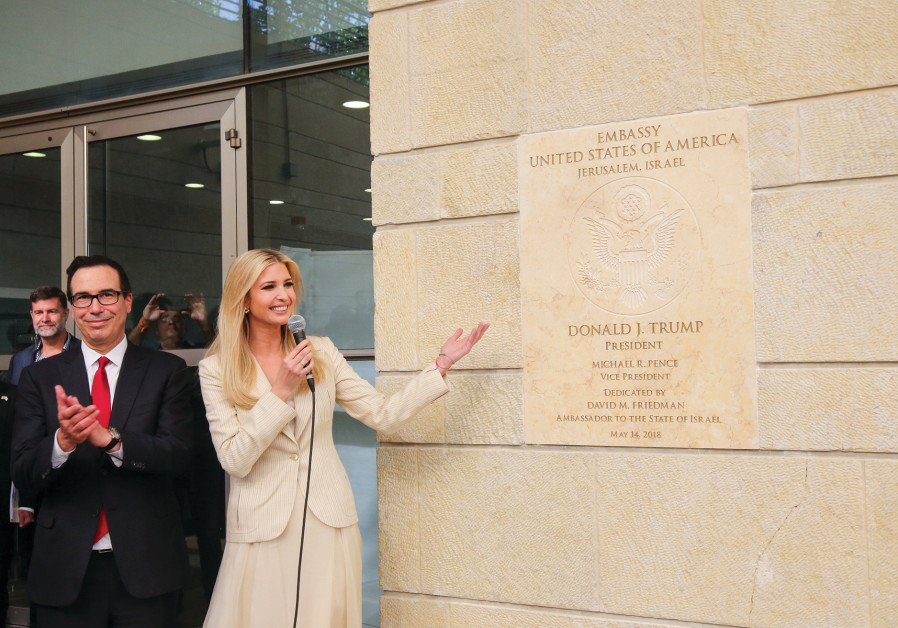 IVANKA TRUMP and Steve Mnuchin attend the inauguration of the US Embassy in Jerusalem last year.