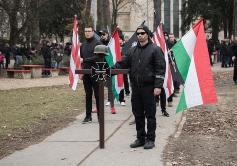 One of the neo-Nazi marches in Budapest, Hungary
