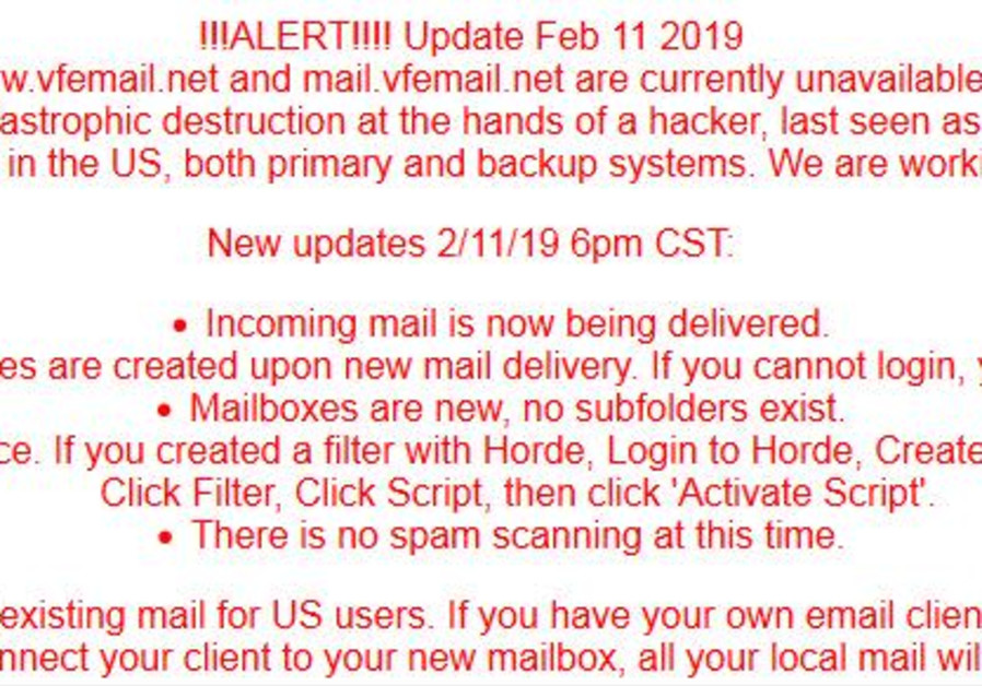 VFEmail's notice on its website about the hacking attack