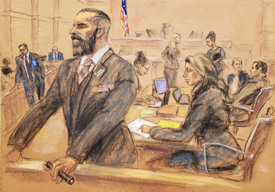 U.S. government lawyers and U.S. Marshals are seen in this courtroom sketch, shortly before the accu