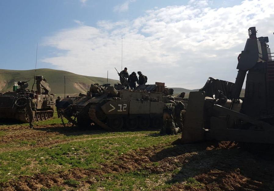 Tanks from the IDF 401th Brigade in training.  Credit: IDF SPOKESMAN'S UNIT