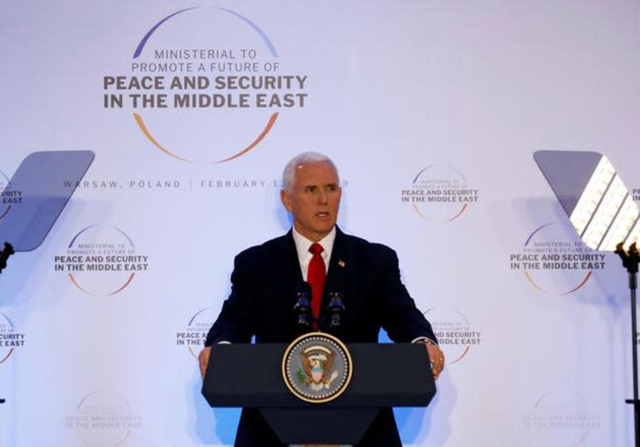 U.S. Vice President Mike Pence delivers a speech during the Middle East summit in Warsaw, Poland