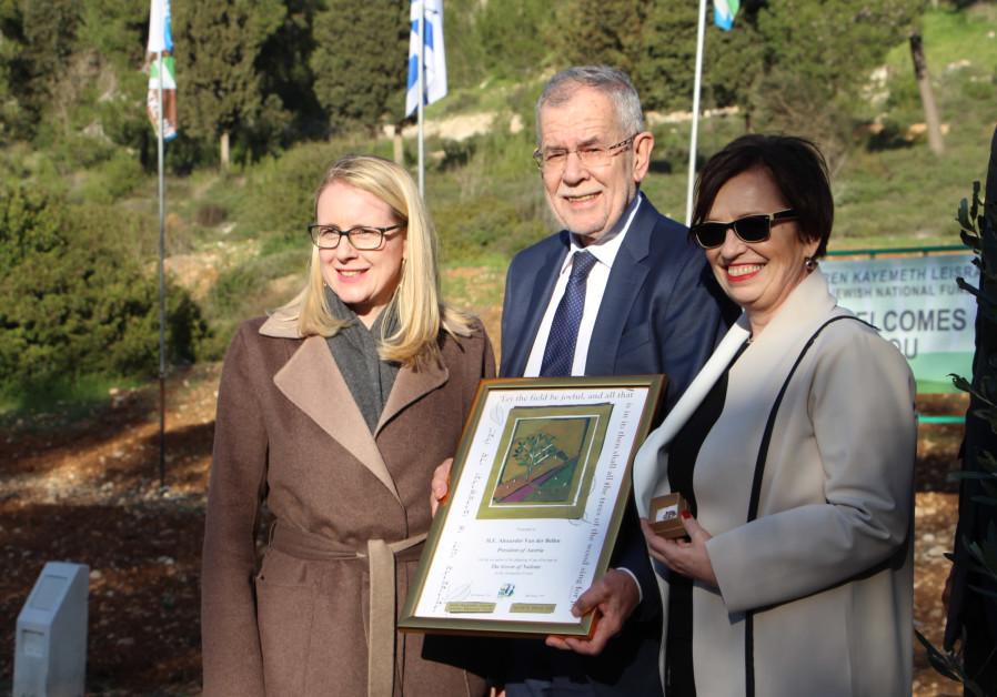 Austrian President Dr. Alexander Van der Bellen (center) with his KKL-JNF Planting Certificate