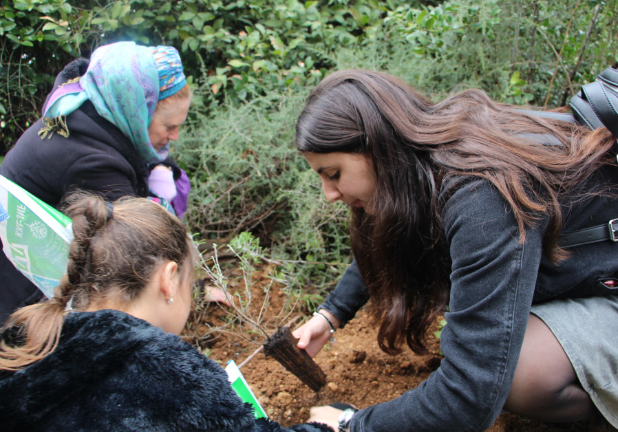 Children with special needs plant trees for Tu Bishvat in Neve Yaakov, thanks to Friends of JNF-KKL