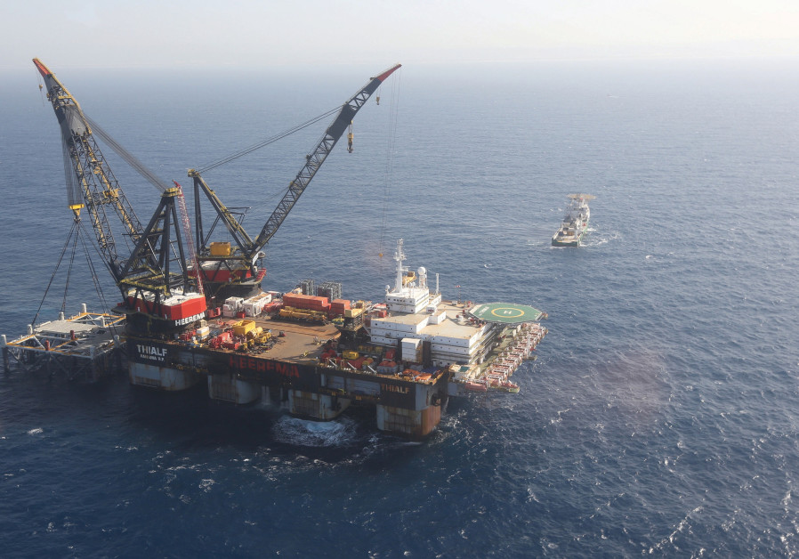 AN AERIAL VIEW shows a foundation platform of Leviathan natural gas field, in the Mediterranean Sea
