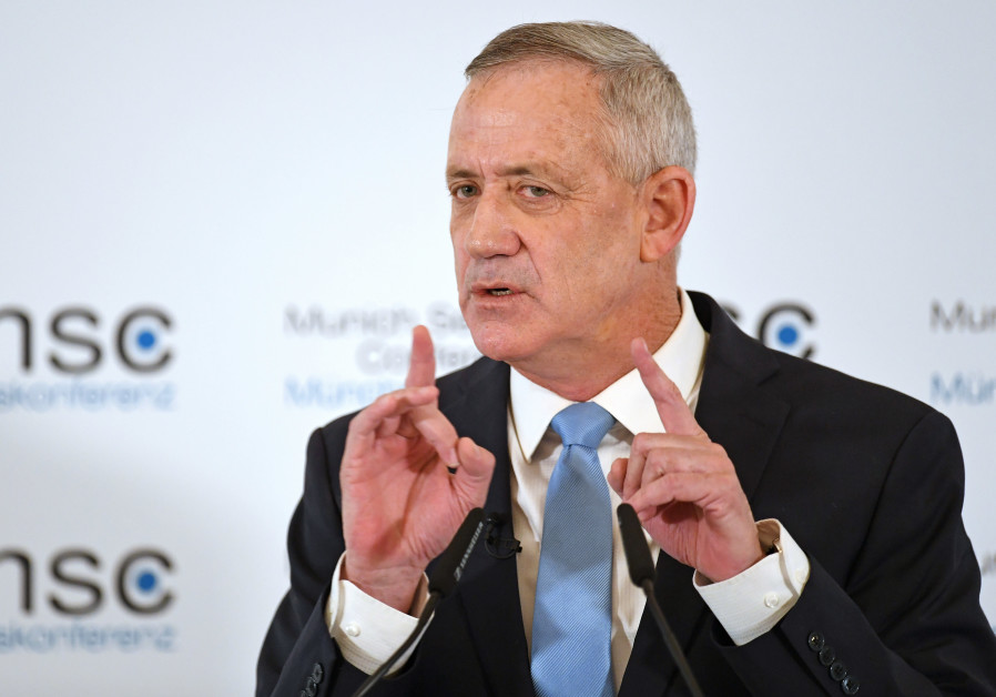 Benny Gantz speaks at the annual Munich Security Conference in Munich, Germany February 17, 2019