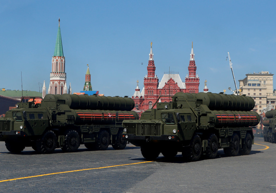 Russian S-400 missile air defence systems on display during a parade marking the 73rd anniversary of