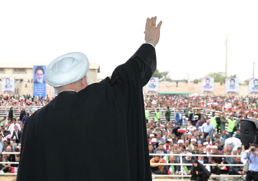 Iranian President Hassan Rouhani is seen during a public speech in the southern Hormozgan province