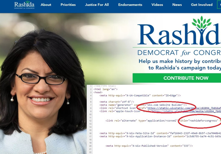 Screenshot of Rep. Rashida Tlaib's website juxtaposed with the source-code showing it was made with Wix.