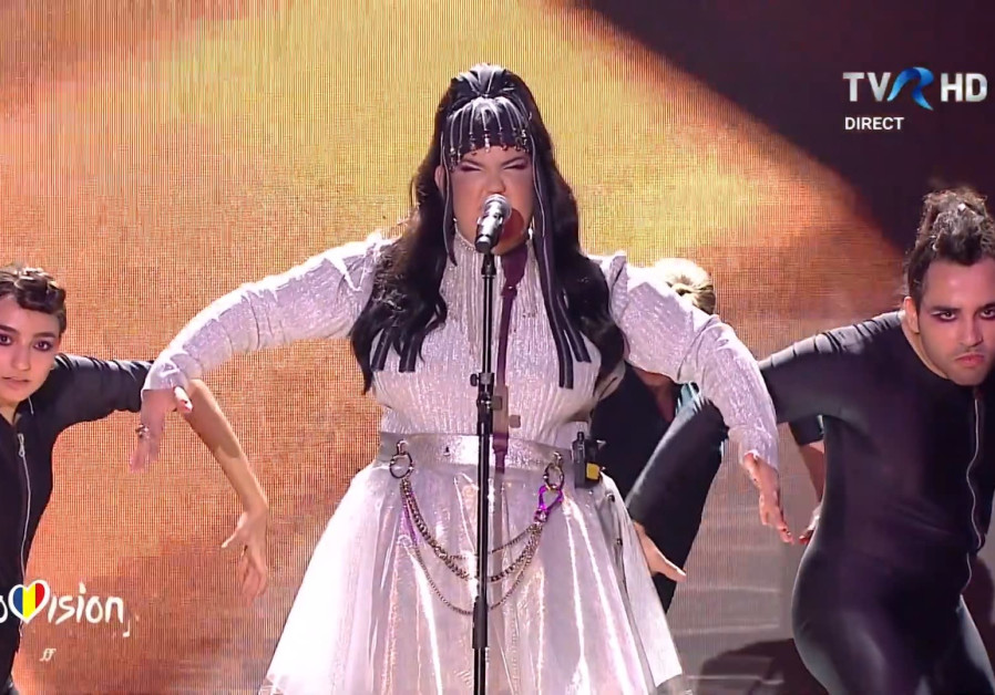 Netta Barzilai performs at the Romanian Eurovision selection finale on Sunday night