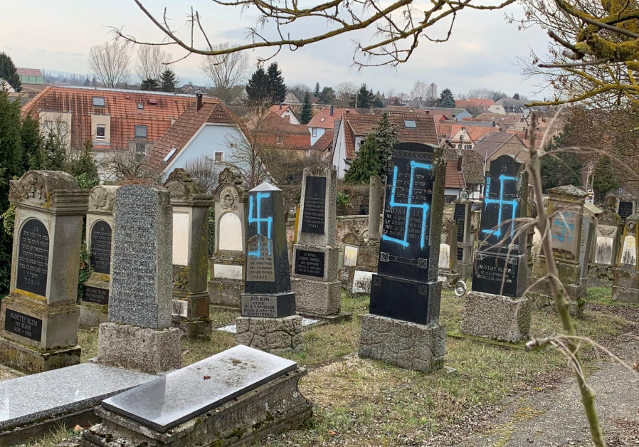 Nazi swastikas painted on the tombstone of Jewish graves in France, February 19, 2019. Photo Credit: Consistoire of the Lower Rhine