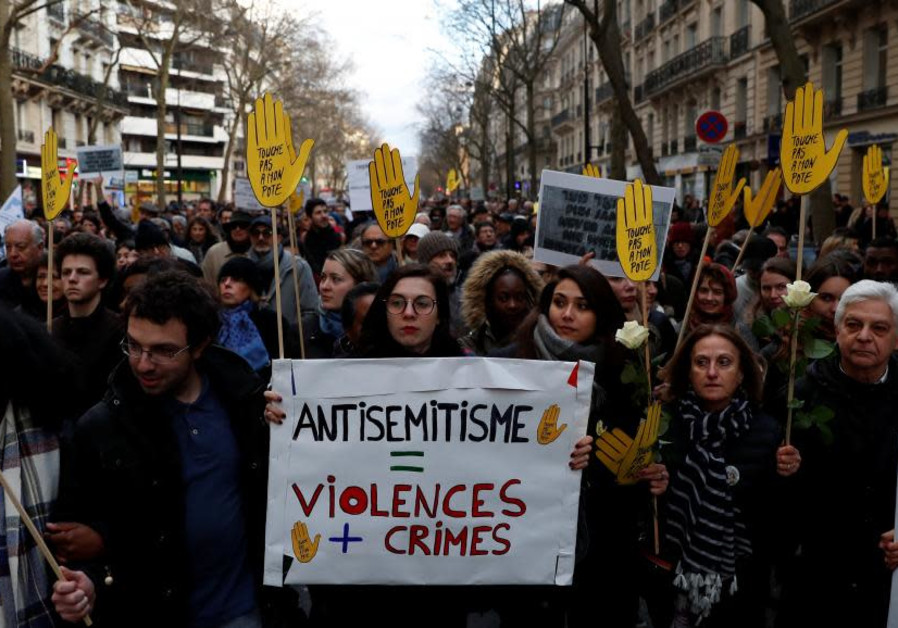 A gathering against anantisemitism in France in 2018.(REUTERS/Gonzalo Fuentes)